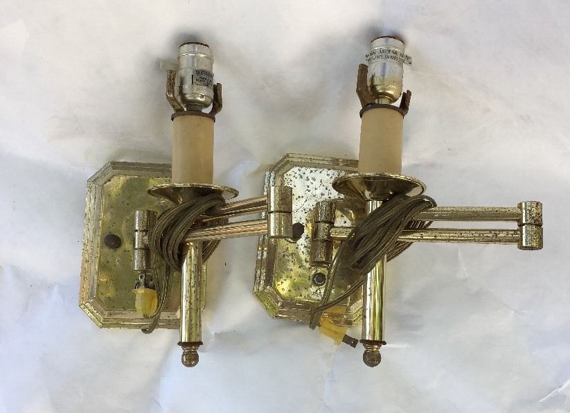 2 Brass Swing arm Wall Mount Sconce  Parts Works  | eBay