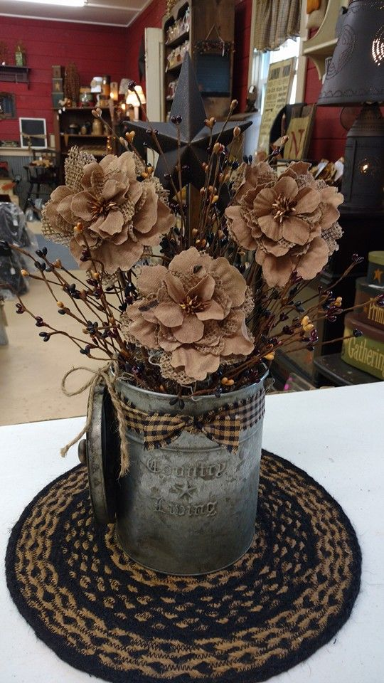 Primitive Country Flowers Burlap In 2019