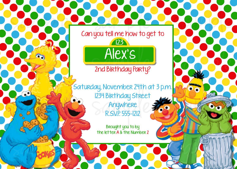 Sesame Street Birthday Invitations Pinterest New Invitations