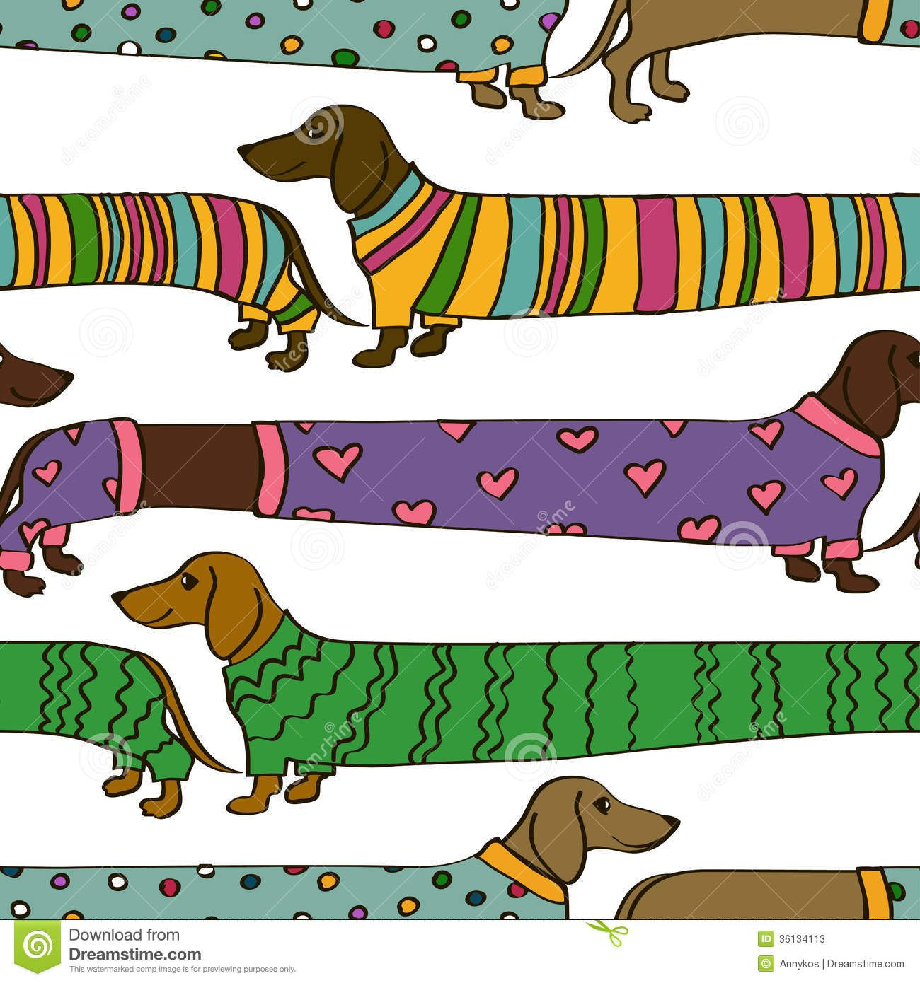 Seamless Pattern With Cartoon Dachshund Dogs Stock Photos Image