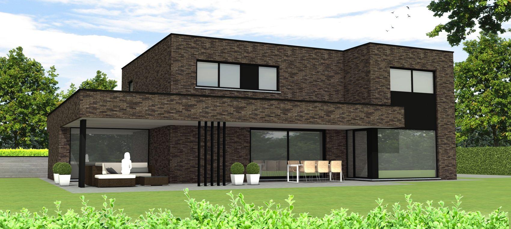 Ara architecten moderne woning moreno baksteen vandersanden maaseik overdekt terras ara - Modern overdekt terras ...