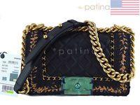NWT 16K Chanel Black Le Boy Jacket Classic Flap, Small Lambskin Tweed Bag 61819