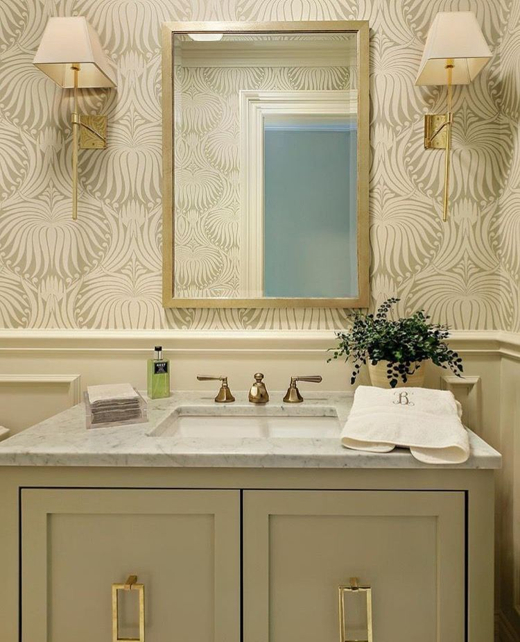 Farrow Ball Lotus Wallpaper Bathroom Vanity Hardware