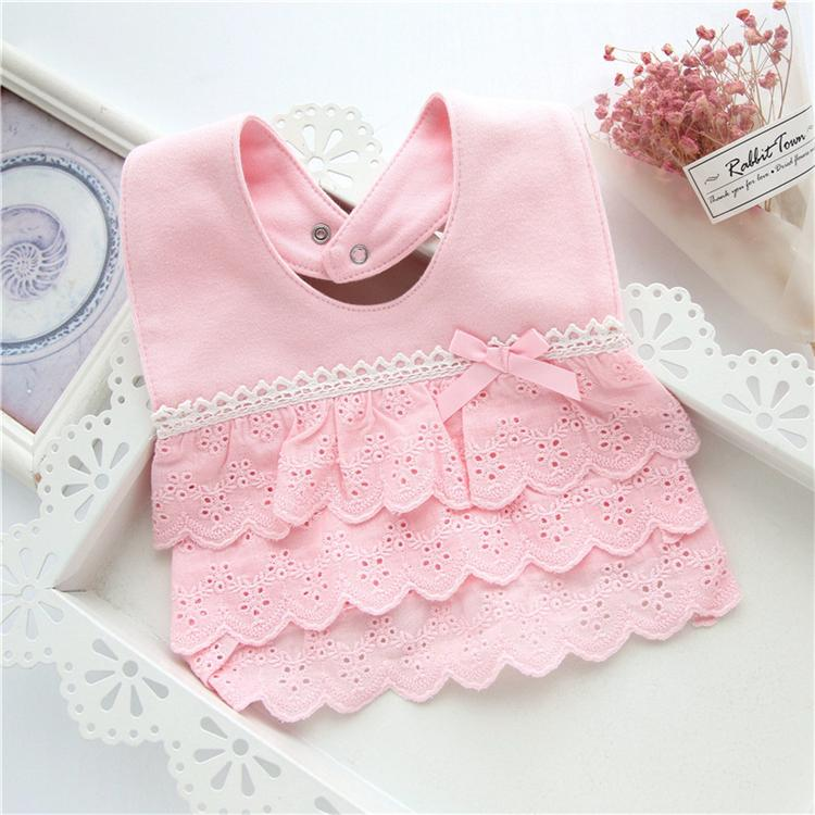 BABY GIRL SPECIAL FANCY BIB LACE TRIM  /& PINK BOW CHRISTENING WEDDING BIBS GIFT