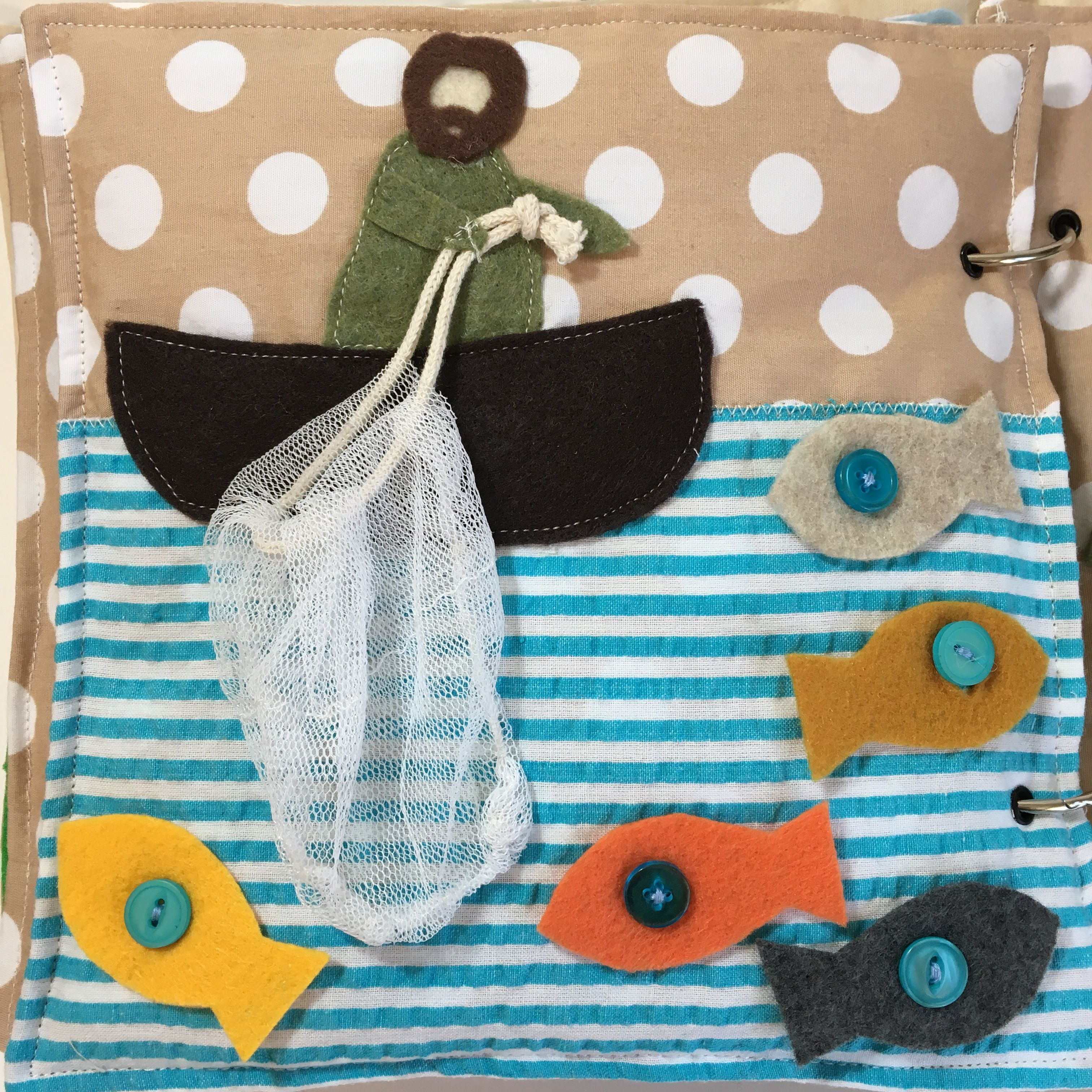 Bible quiet book. Help Peter catch the fish. Click for sewing pattern.