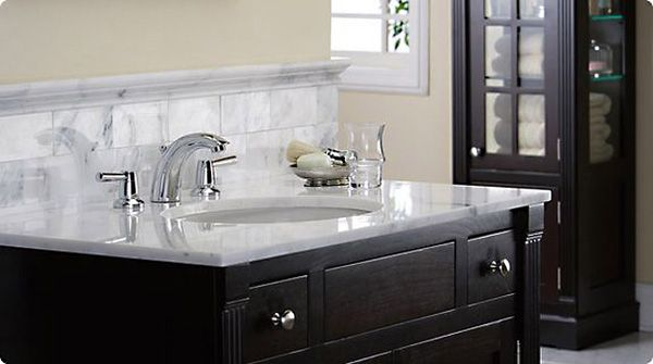 grohe bathroom faucet - dark vanity, marble top. | For the Home ...