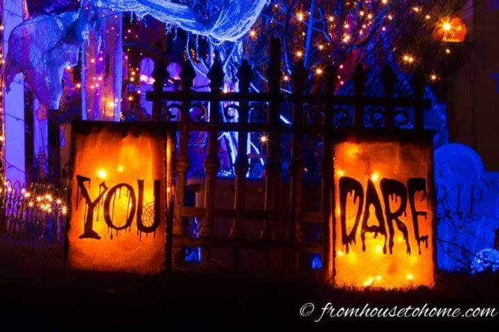 Want to add some outdoor Halloween lighting but need some ideas on what to do? Learn some great ways to add spooky outdoor Halloween decorations to your yard. #halloweenobsession #halloweendecor #spooky #halloween #outdoorhalloweendecorideas