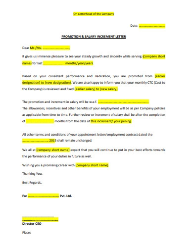 Salary Increment Letter Templates 10+ Printable Word