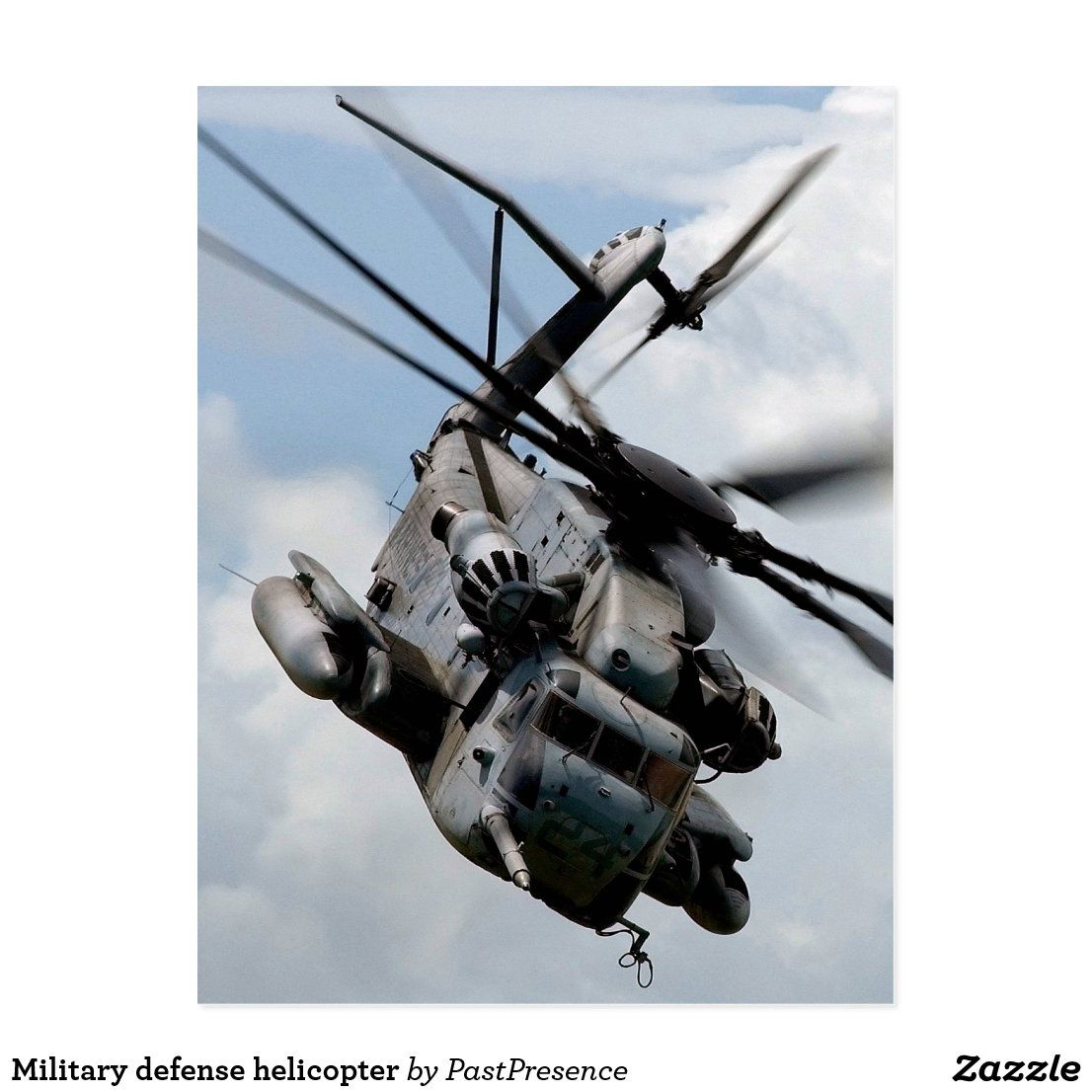 Military defense helicopter postcard in 2020