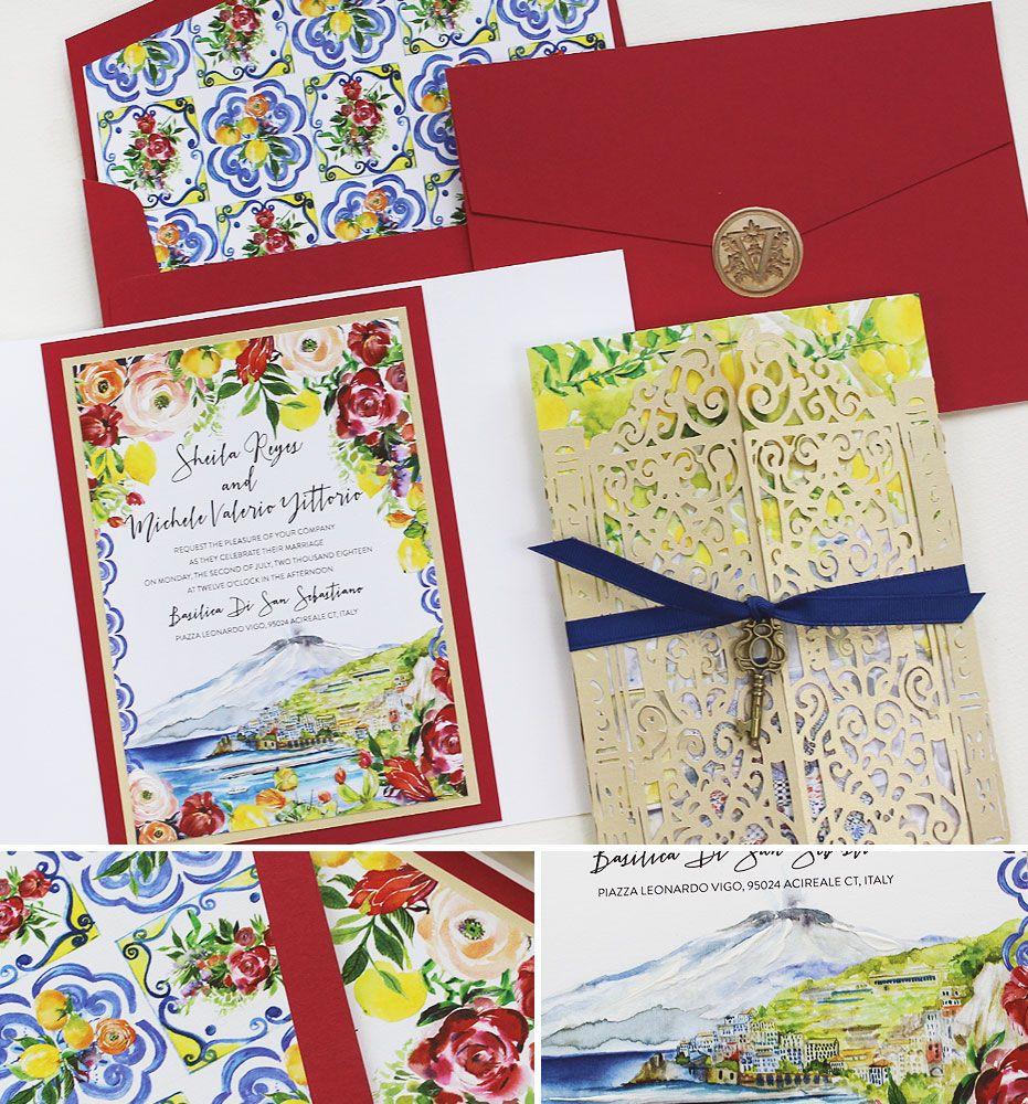 Sheila R. - Watercolor Sicily Wedding Invitation