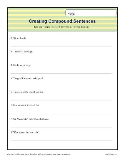 Compund Sentence Worksheet | Simple sentences, Sentences and ...