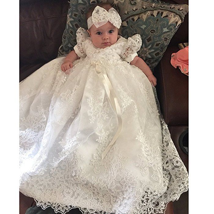 Newborn Baby Christening Gown Infant Lace Baptism Dress with hat//bonnet 3 6 12 M