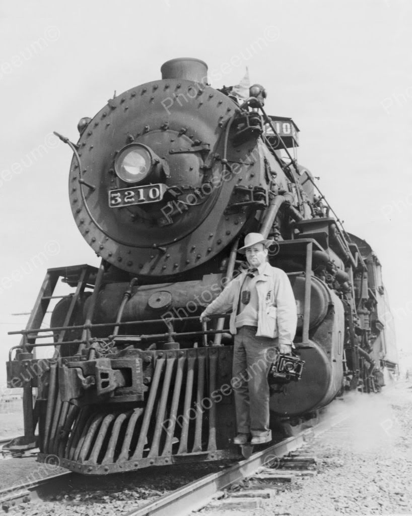 Photographer Holding Camera Front Locomotive Vintage 8x10 Reprint Of Old Photo