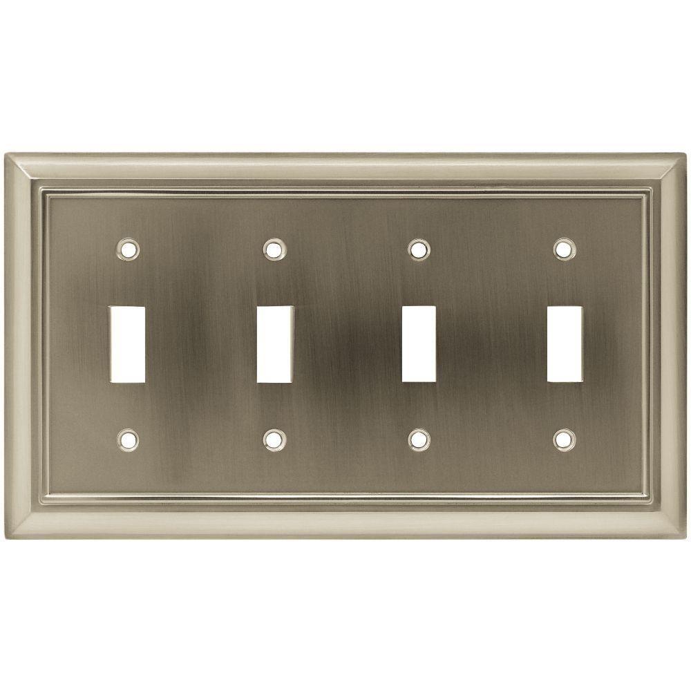 Hampton Bay Architectural Decorative Quadruple Switch Plate Satin