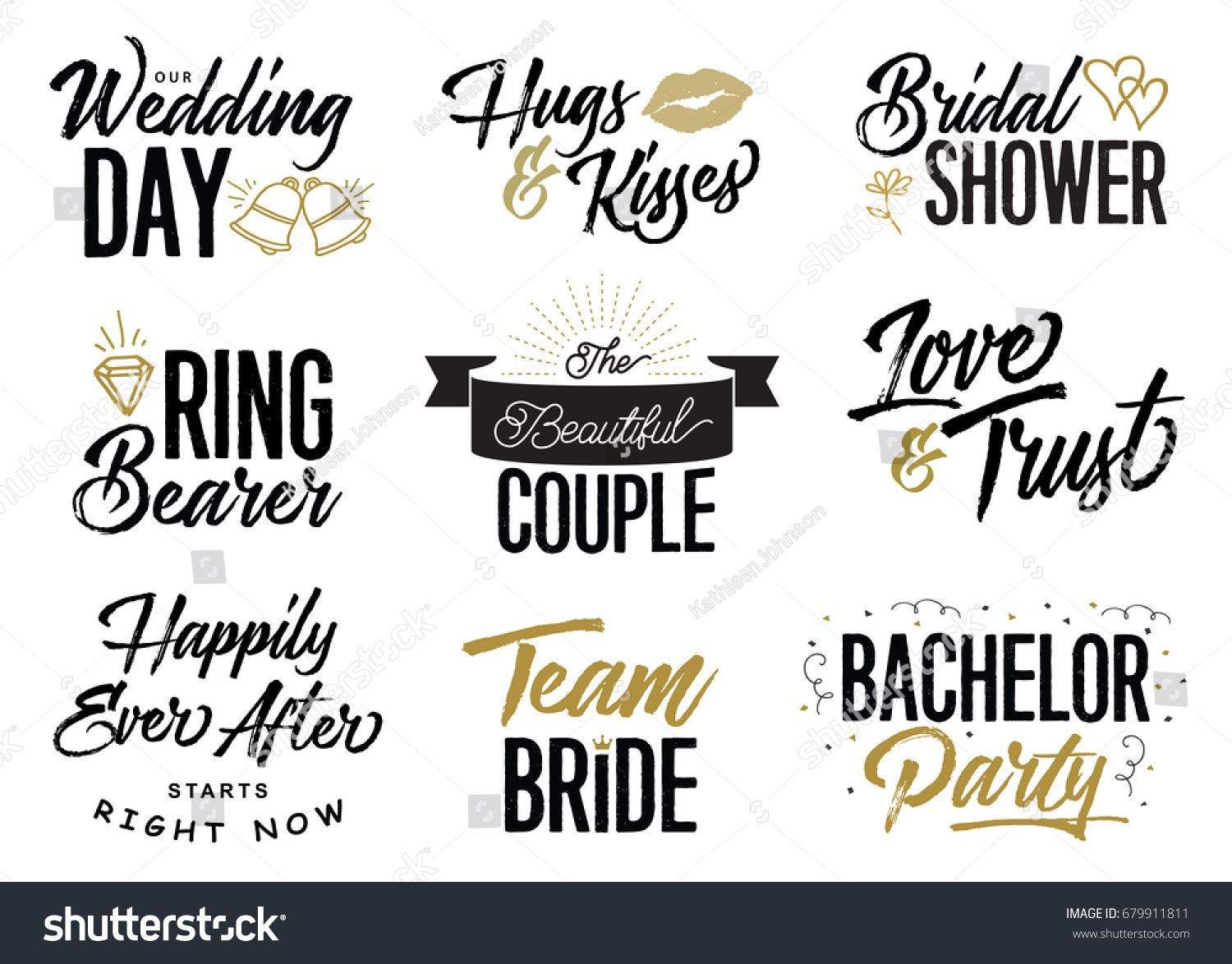 wedding lettering phrases vector set our wedding day hugs kisses bridal shower ring bearer love trust the beautiful couple team bride