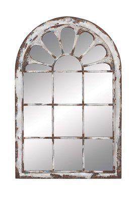 Smart Home White Distressed Metal Wall Panel Mirror Arch Mirror Farmhouse Wall Mirrors Metal Wall Panel