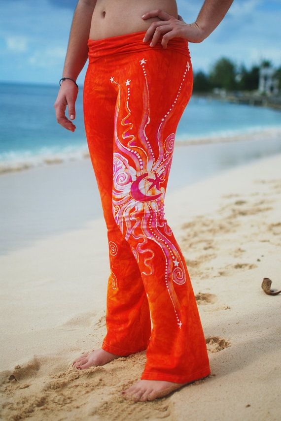 Batik Yoga Pants in Brilliant Orange by Batikwalla on Etsy