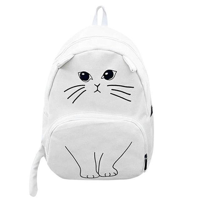 314c4c5b7548 Cute Cat Embroidery Backpack Cat Ears Printing Women Canvas Backpacks For  Teenage Girls College Style Casual Backpack Sac a dos