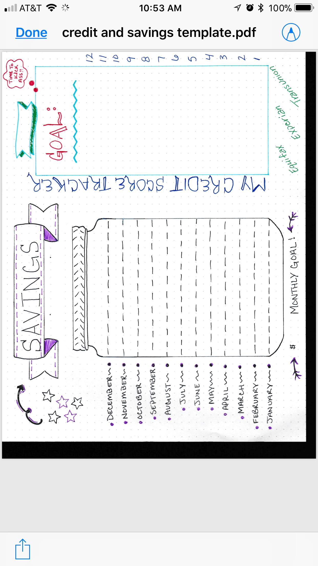 Bullet Journal Savings tracker credit score tracker 2in1 blank ...