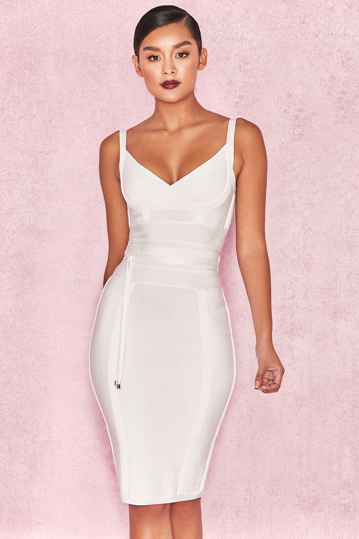 Clothing   Bandage Dresses    Belice  White Tie Waist Bandage Dress ... 689daff0a134