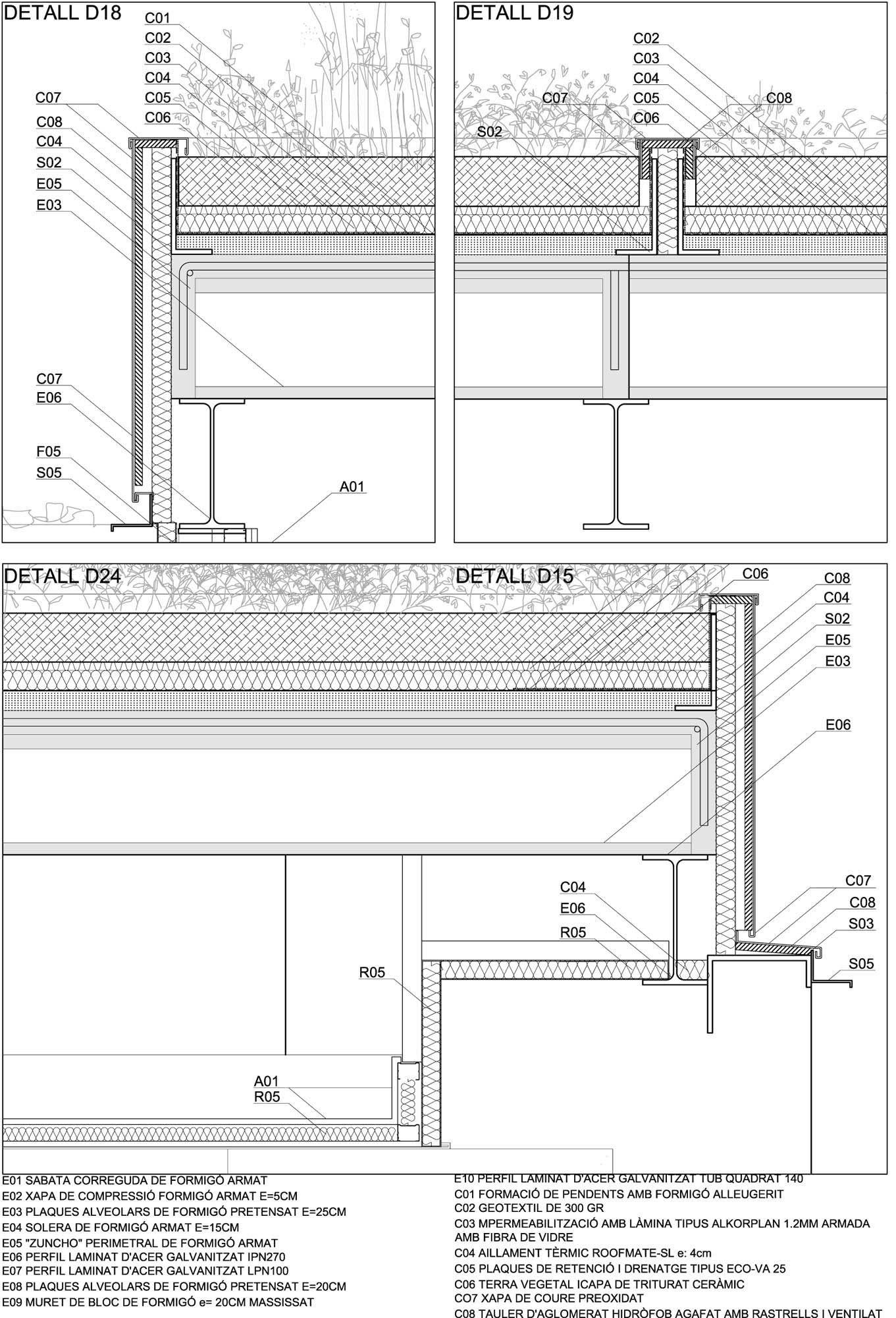 En Detalle: Cortes Constructivos / Techos Verdes,Vulcano Buono / Renzo Piano