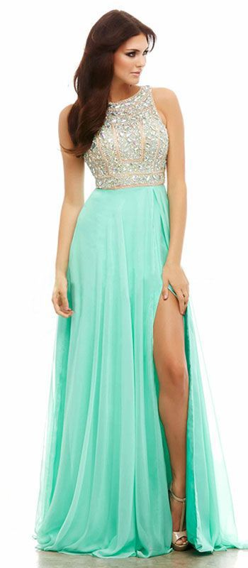 Elegant Chiffon Prom Dress,Beading Sleeveless Evening Dress,Side Slit Party Dress,Split at lower pat of dress