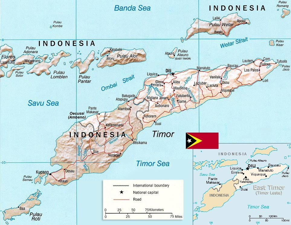 East Timor Map Capital Dili Timor Leste Mapa Viagens