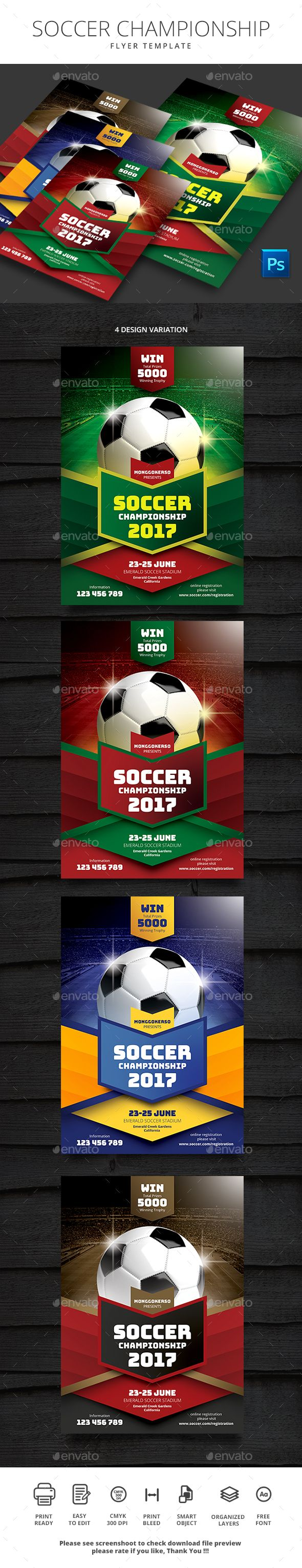 Soccer Championship  Edit Text Flyer Template And Template