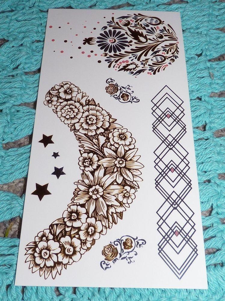 Metallic temporary summer bohemian neckband flower stars