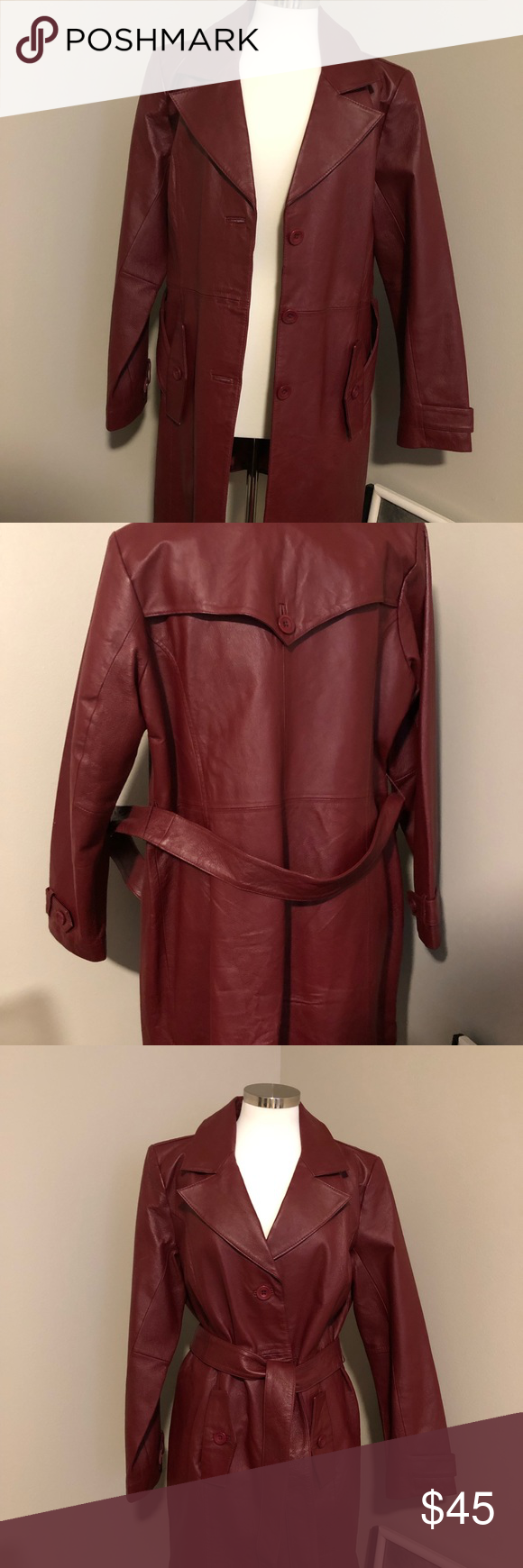 Leather Jacket Women S 3 Quarter Length Belted Burgundy Leather Jacket Never Worn Centigrade Jac Leather Jacket Leather Jackets Women Burgundy Leather Jacket [ 1740 x 580 Pixel ]