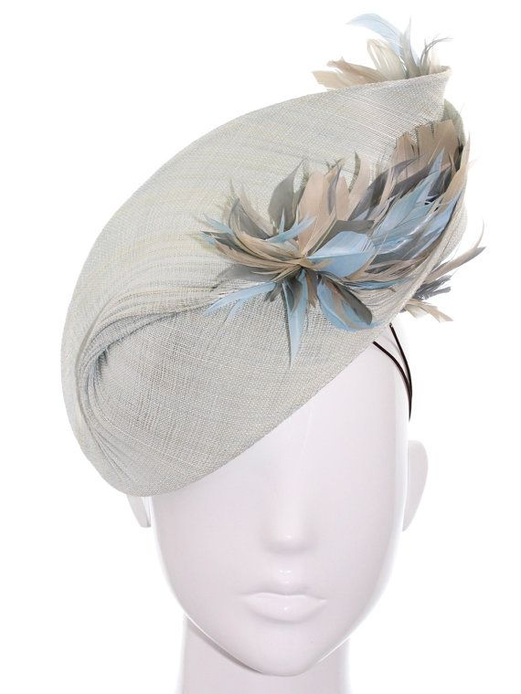 Duck Egg Blue Bias Hat with Feathers -Racing Carnival, Bespoke Headwear
