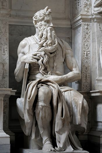 Moses - St. Peter in Chains (San Pietro in Vincoli) Rome, Italy - Michelangelo sculpted this figure 1513 -1515.