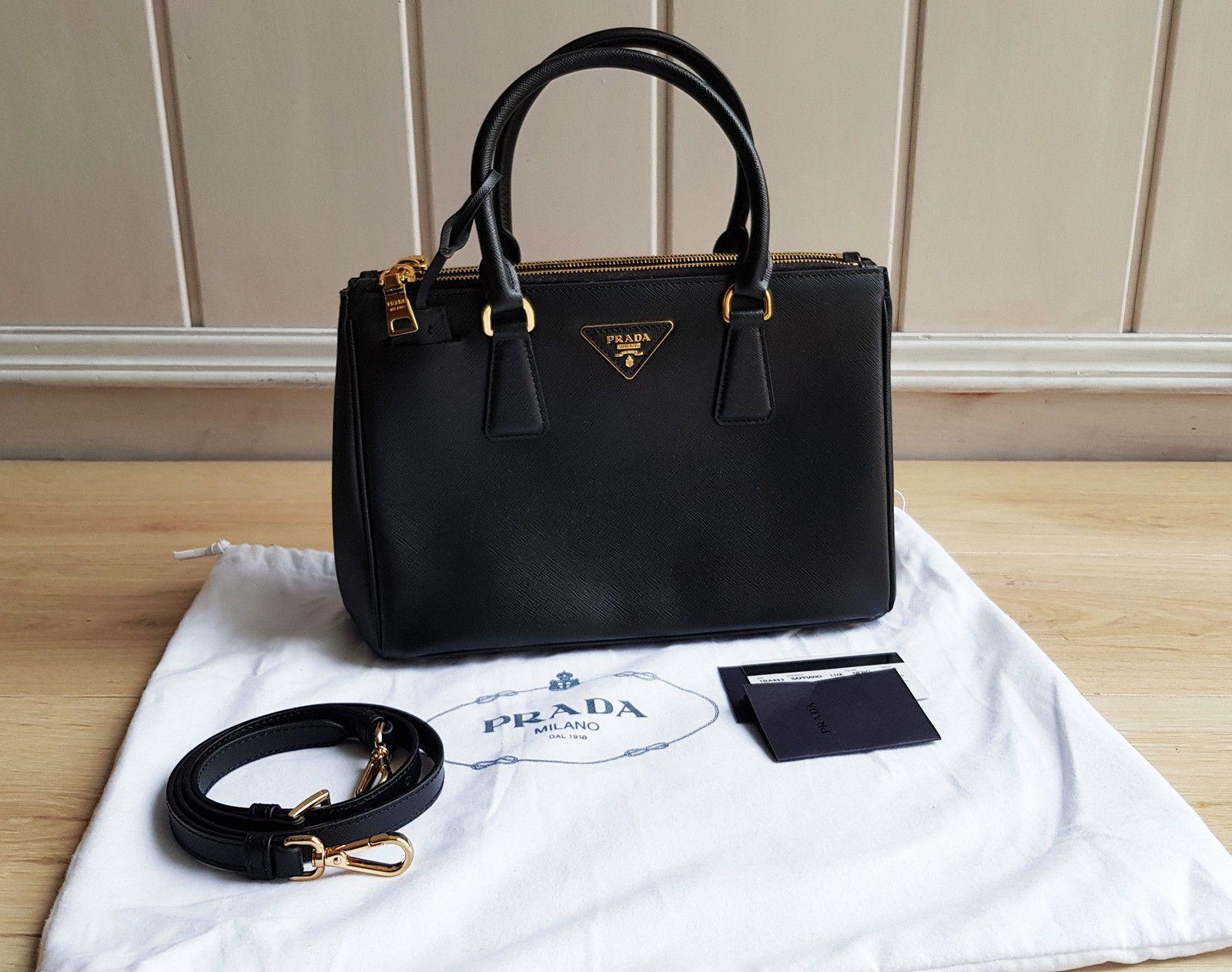 b67d539c Prada Saffiano Lux Double-Zip Tote Bag Nero Black 1BA863 Galleria ...