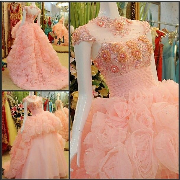 2015 Ball Gown Wedding Dress Pink High Neck Long Flower Train Special Dreamy New