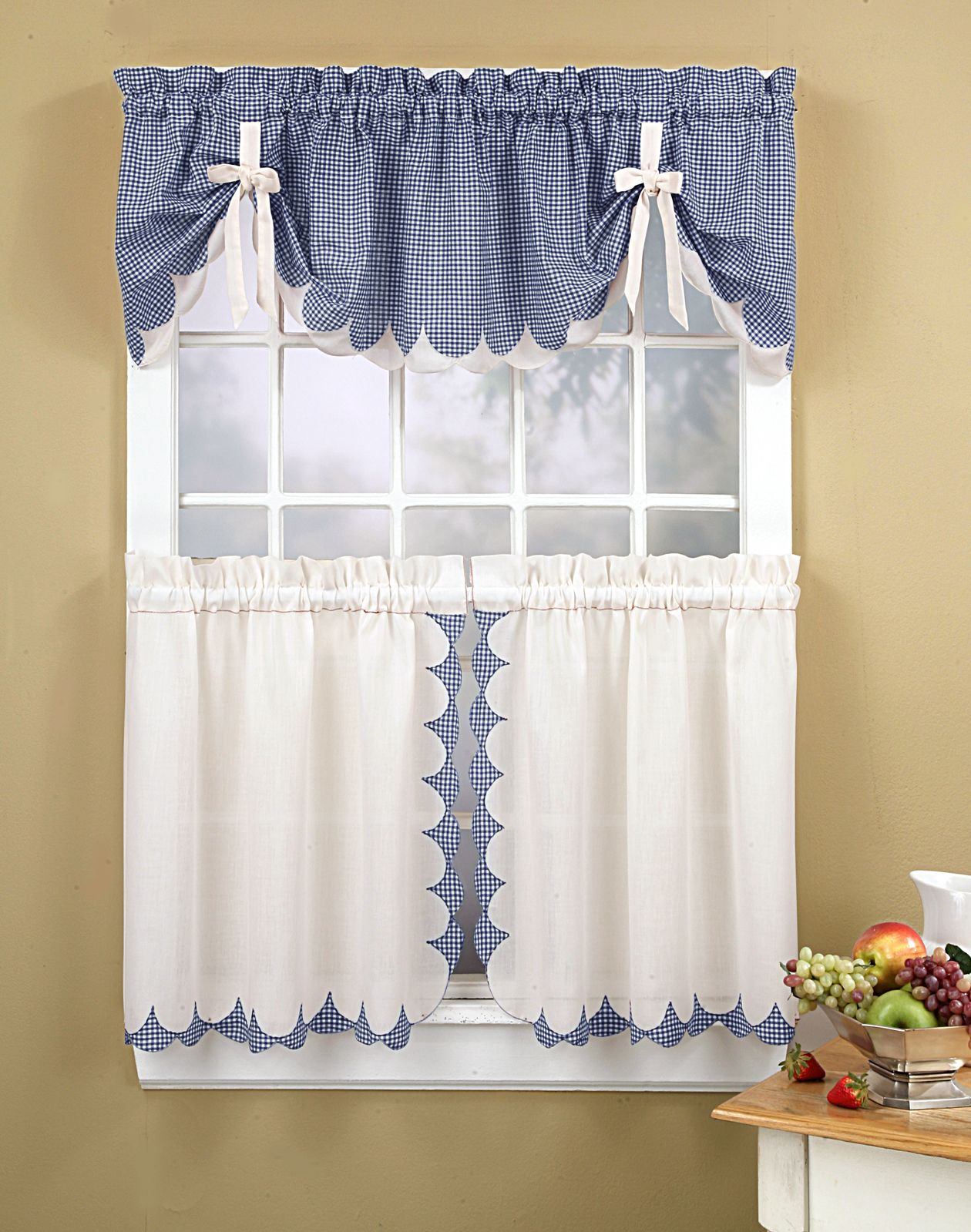Blue and white kitchen curtains - Kitchen Curtains Tabitha 3 Piece Kitchen Curtain Tier Set Curtainworks Com I