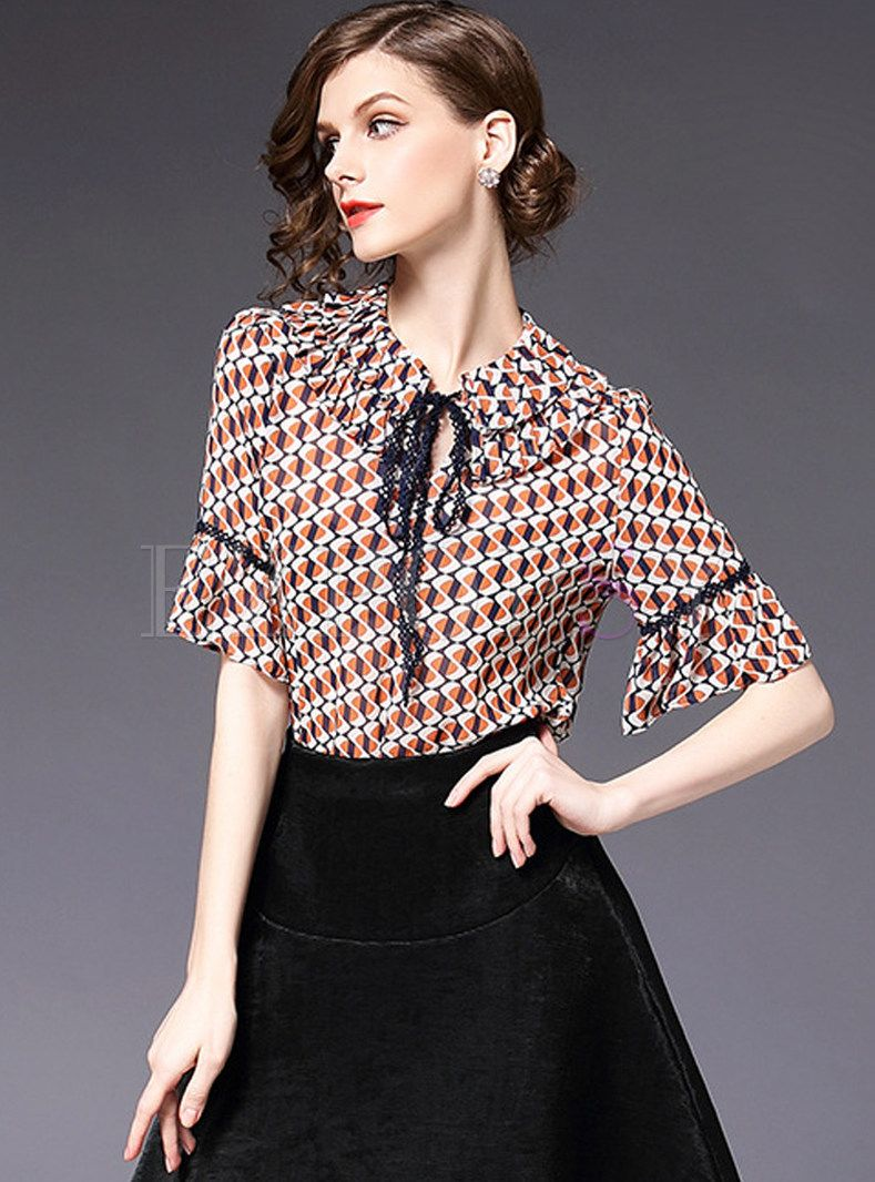 984d9a7ef4f2d Sweet Flare Sleeve Color-blocked Blouse