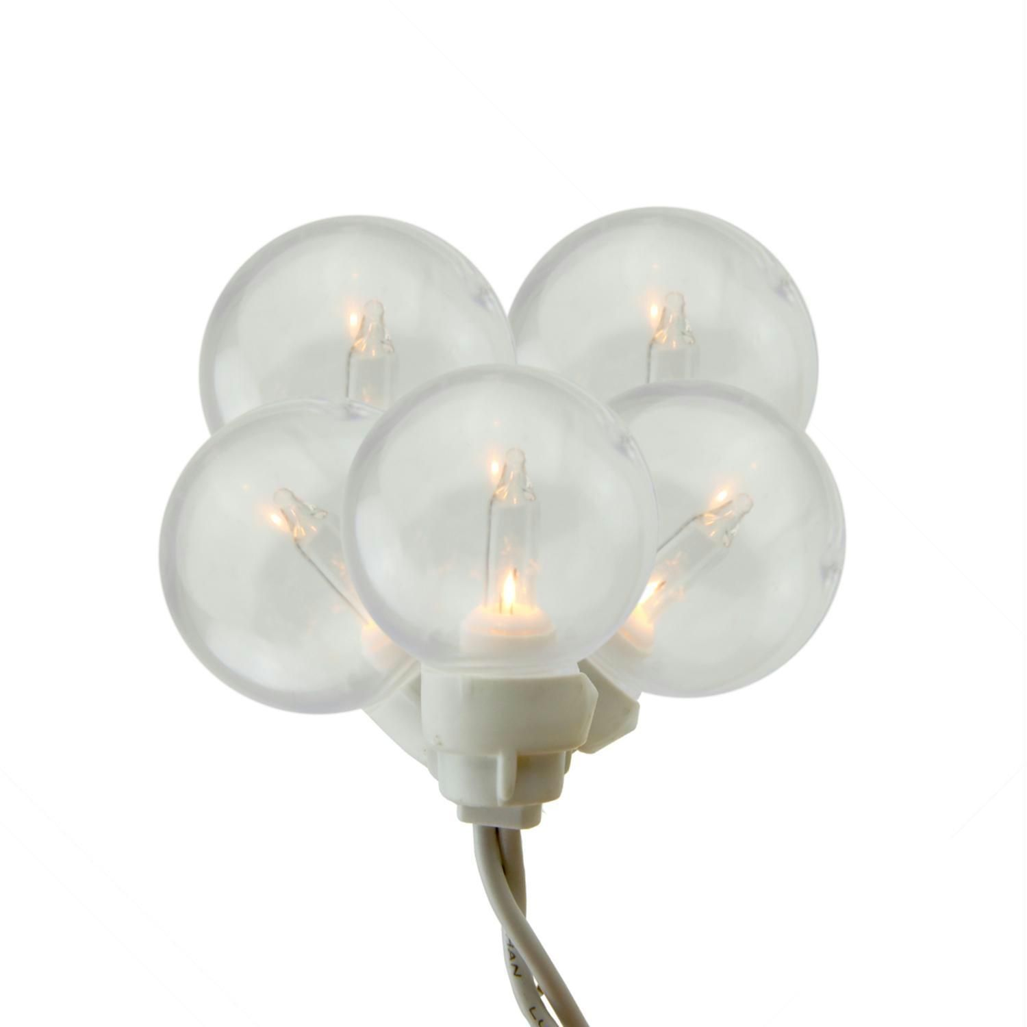 Set Of  Clear G Globe Icicle Christmas Lights White Wire