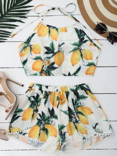 a5c55bf36c72 SHARE & Get it FREE | Lemon Halter Crop Top Shorts Set - WhiteFor Fashion  Lovers only:80,000+ Items • New Arrivals Daily Join Zaful: Get YOUR $50 NOW!