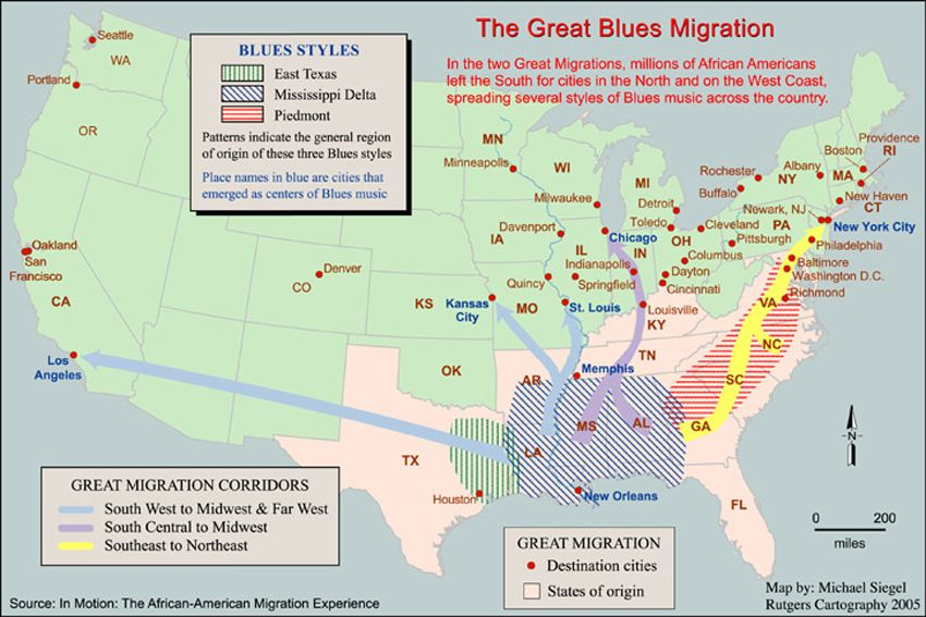 The Great Blues Migration The Great Migration Geography - Map of migrant diasporas across the us