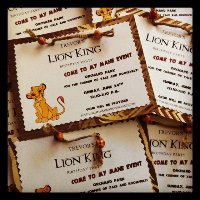 Lion King birthday party invitations Lion King birthday