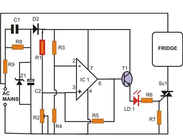 RefrigeratorThermostat Circuit uses the Peltier effect to