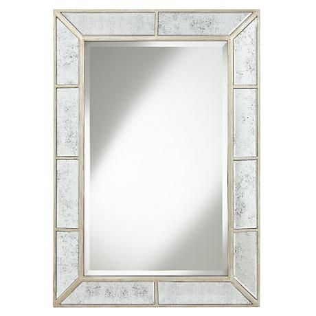 Deaver Silver Champagne 28 X40 Rectangular Wall Mirror 1k754 Lamps Plus Mirror Design Wall Lighted Wall Mirror Mirror Wall Rectangular wall mirrors decorative