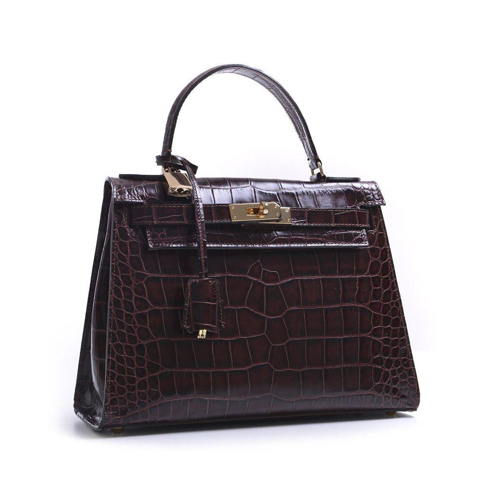 Attavanti Carbotti Designer Bellino Patent Croc Leather Grab Handbag Dark Brown 315 00