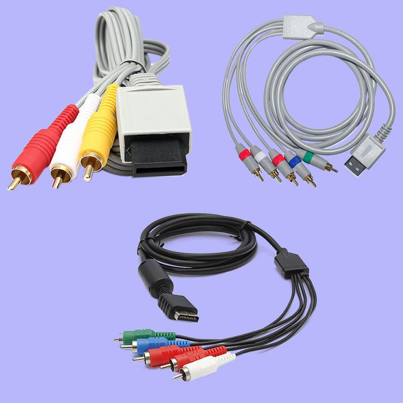 New 3 RCA AV Component Nintendo Wii & Wiiu U 5 RCA Component Audio ...