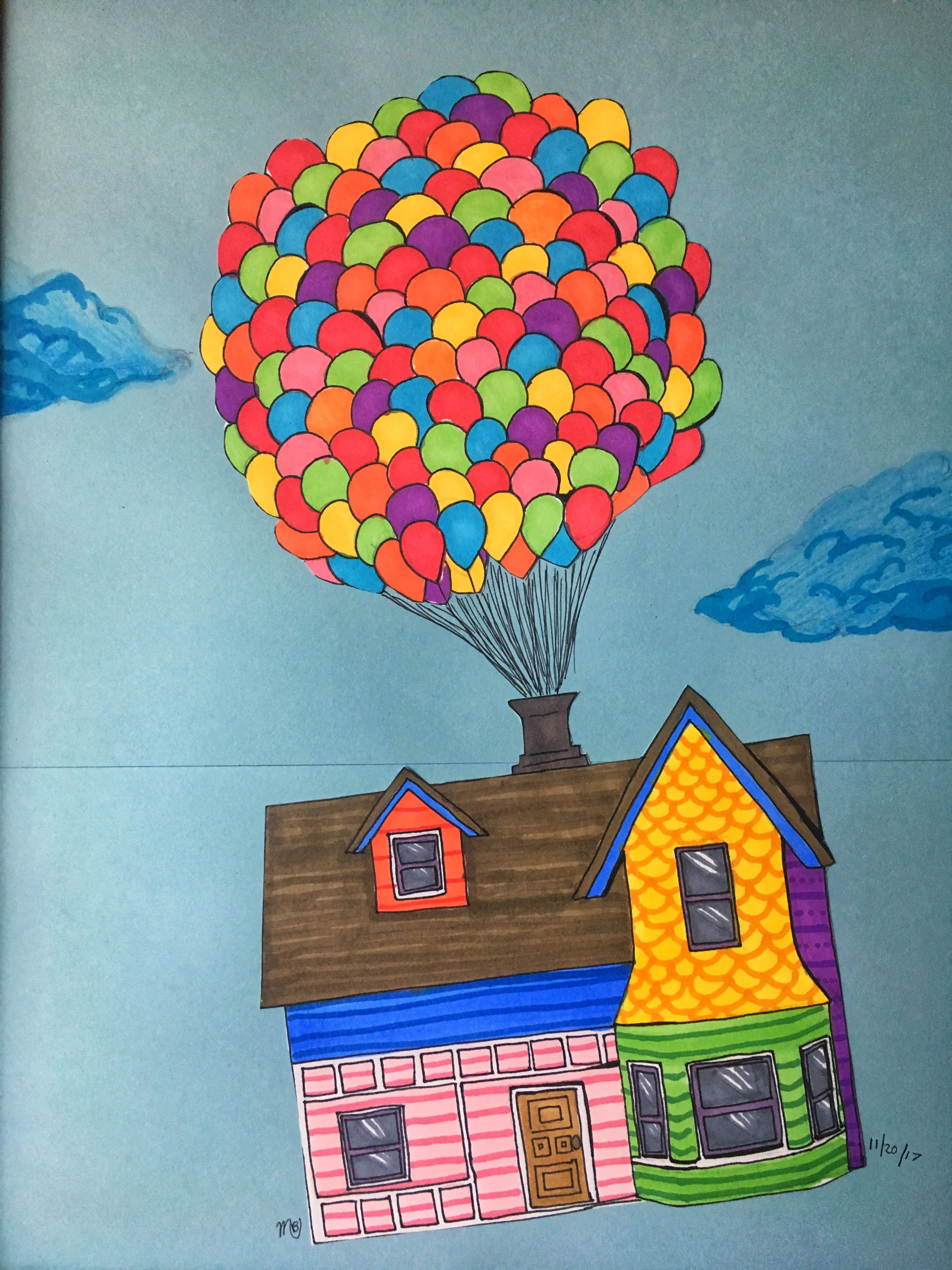 Up House Drawing House Drawing Disney Drawings Colorful Drawings