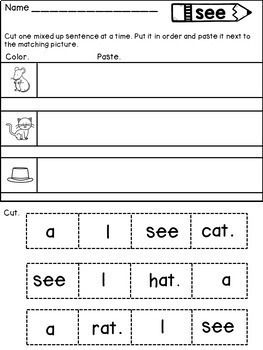 Sight Word Sentences Cut and Paste to Match the Pictures