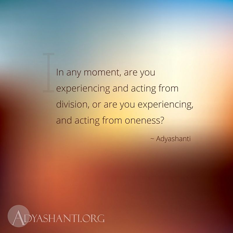 In Any Moment Are You Experiencing And Acting From Division Or Are Interesting Adyashanti Quotes