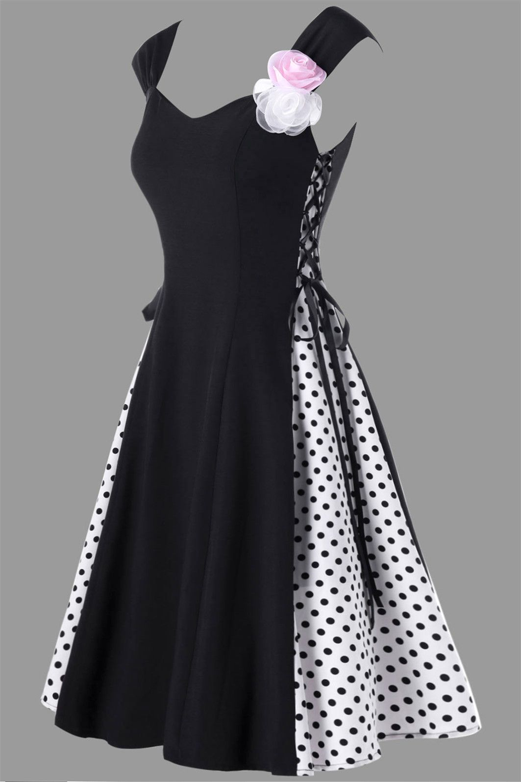 Lace dress styles for funeral   Retro Polka Dot Flower Embellished Lace Up Dress  Black  My