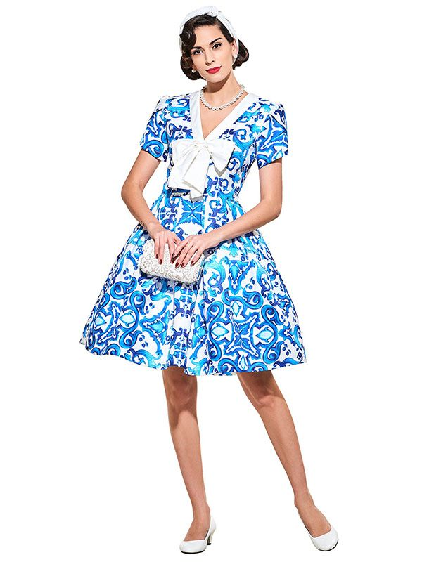 ff7ac2aad8a28 Sisjuly vintage dresses 1950s style blue print floral spring summer ...