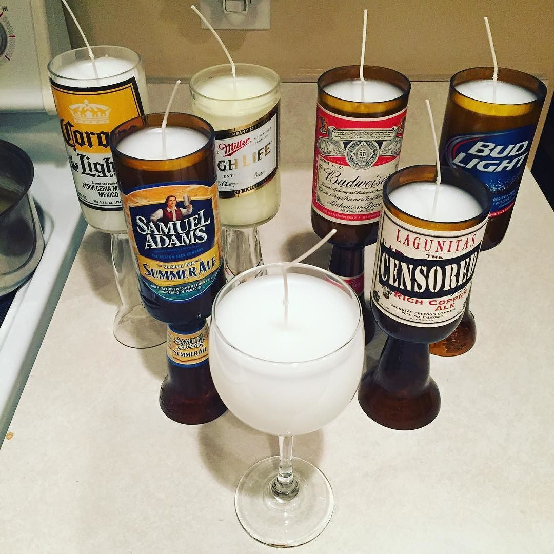 #love how #busy I am this week so far!!! I just attached the bases to these #beer #candles and did the first #pour. The #wineglass #candle is part of a larger #order of 12 #wine #glass candles. I will do the second pour tomorrow and ship them out. #etsylife #etsy #beersofinstagram #beers #winelover #candlemaking #candlemaker #budweiser #samadams #budlight #millerhighlife #millertime #shopetsy #etsysellersofinstagram